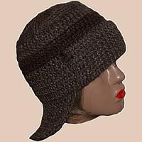 Женская вязаная зимняя шапка-ушанка коричневого цвета