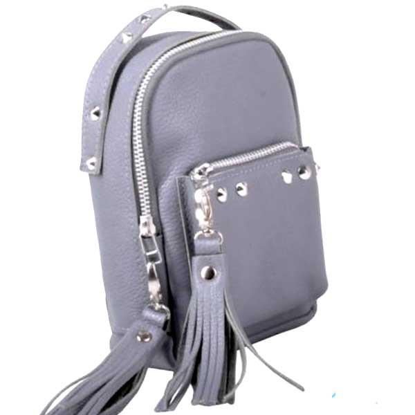 daf4df1a14e7 Женский маленький кожаный рюкзак трансформер original scotty grey Jizuz -  Omama. Интернет-магазин для