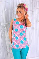 3abee29f1e9 Летний яркий бирюзовый женский коттоновый брючный костюм с принтом