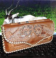 Женский клатч кошелек из натуральной кожи антилопы.