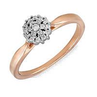 Золотое кольцо Камелия с бриллиантами 17.5 000043737