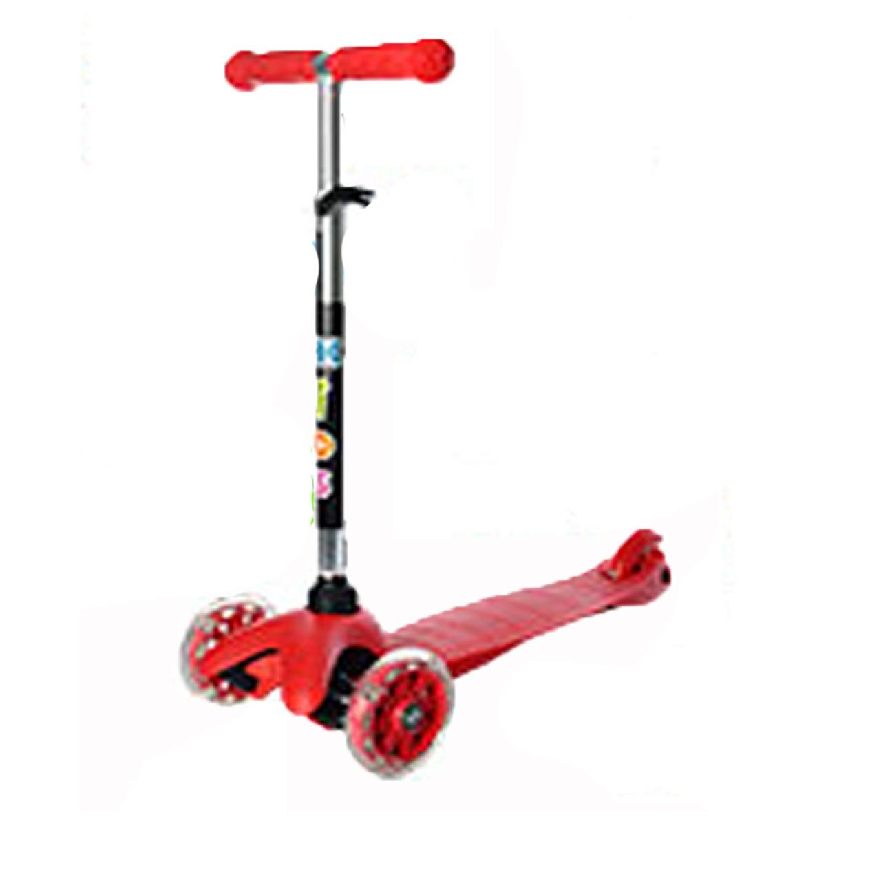 Трехколесный самокат с светящимися колесами мини красный