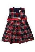 """Платье с коротким рукавом для девочки с поясом """"Шотландка"""" """"Lilax"""", Красный, 92(92-110), 92 см"""