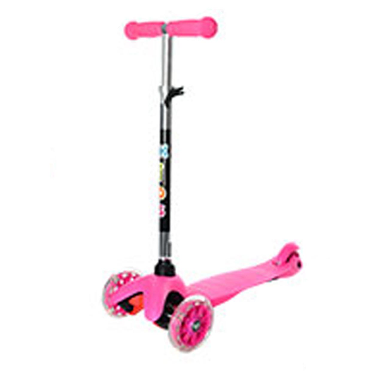 Трехколесный самокат с светящимися колесами мини розовый