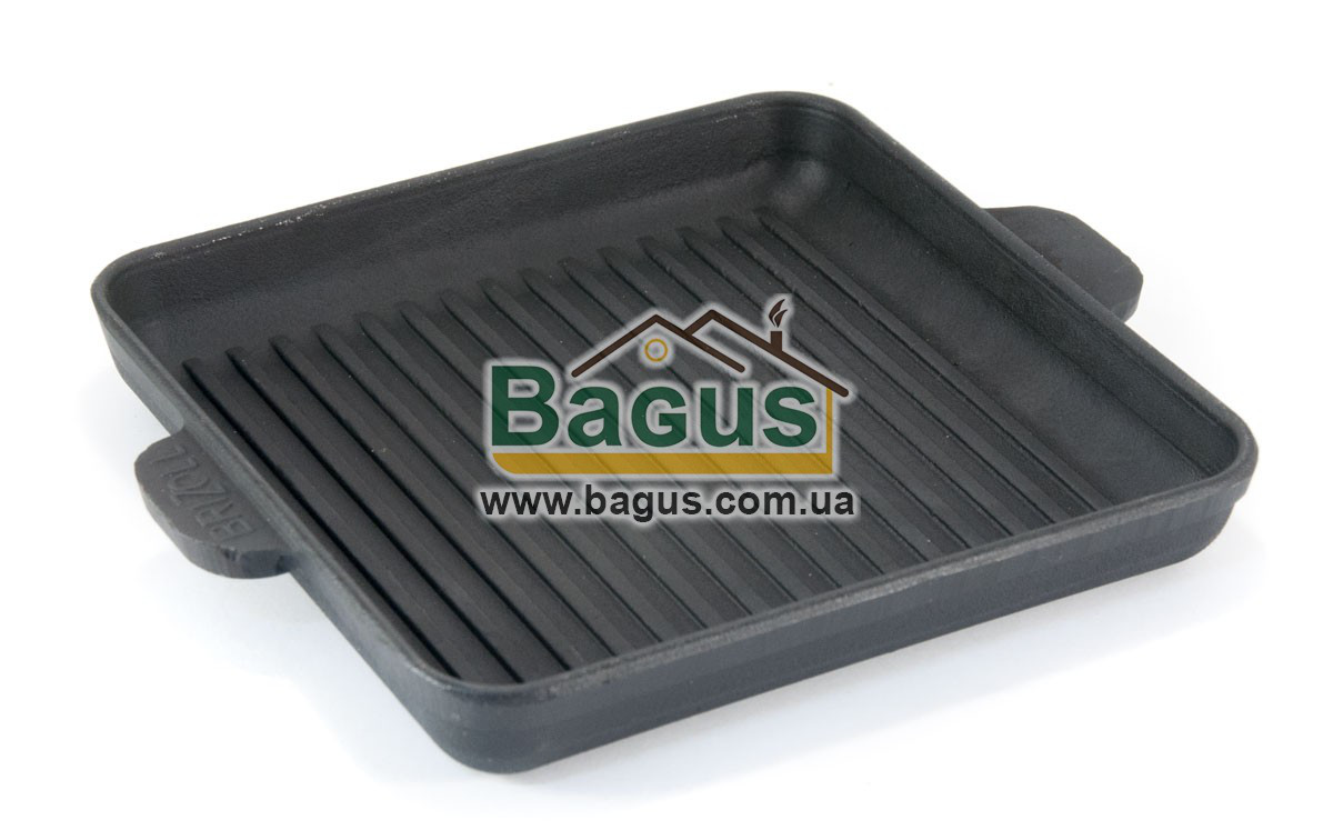 Сковорода-гриль чавунна квадратна 180х180х25мм, посуд чавунна Brizoll (Україна) Н181825Г