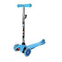 Трехколесный самокат с светящимися колесами мини голубой