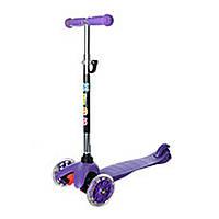 Трехколесный самокат с светящимися колесами мини фиолетовый