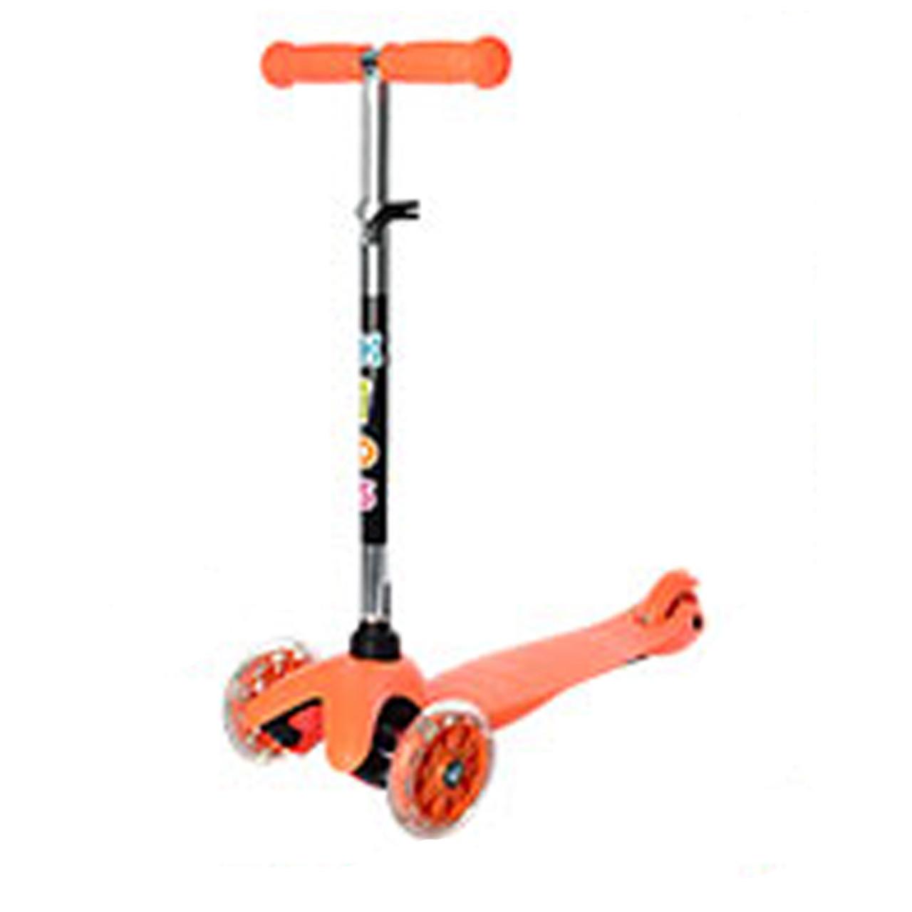 Трехколесный самокат с светящимися колесами мини оранжевый