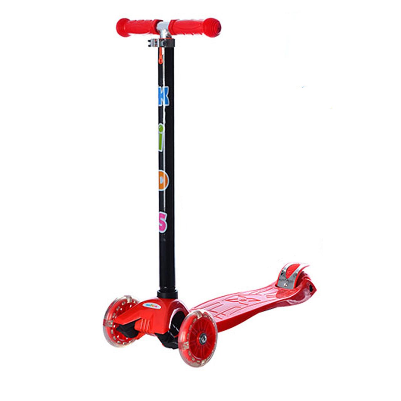 Детский самокат с светящимися колесами макси красный