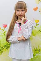 """Блузка с длинным рукавом для девочки """"Ультра розовая вышивка"""" """"NK Unsea"""", белый, 164(116-164), 164 см"""