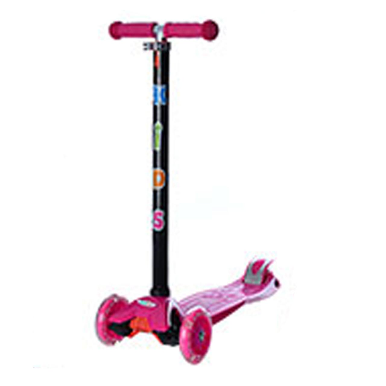 Детский самокат с светящимися колесами макси фиолетовый