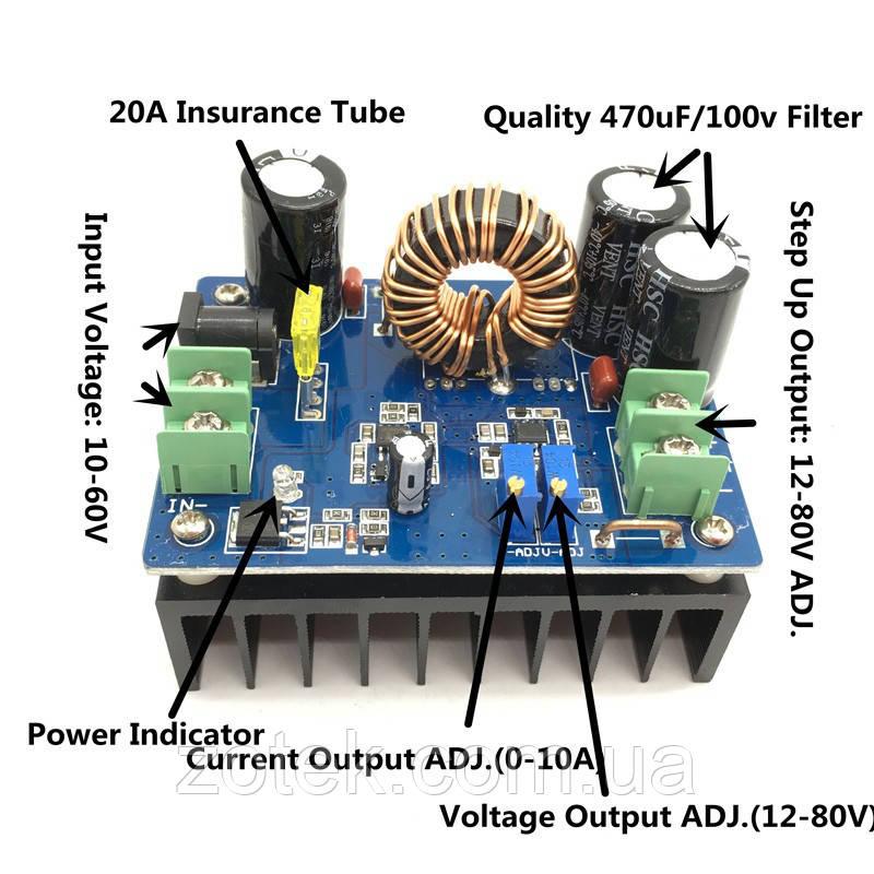 600Вт 15A DC-DC преобразователь стабилизатор повышающий 8-60В->12-80В