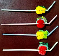 Трубочка декоративная фрукты L 240 мм (уп 50 шт)