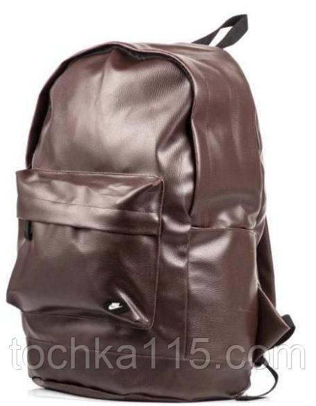 Рюкзак Nike, городской рюкзак найк эко кожа коричневый реплика