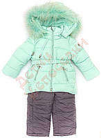 """Костюм куртка и полукомбинезон зимний для девочки с опушкой""""2 кнопки по бокам"""" """"Lebo"""", мятный и сливовый, 92(74-98), 92 см"""