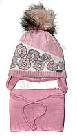 """Шапка и шарф для девочки с помпоном """"Цветы"""" """"Grans"""", кораловый и молочный, 48-50, 48 см, 50 см"""