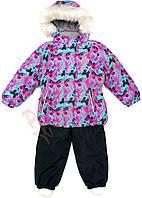 """Костюм куртка и полукомбинезон зимний для девочки Termo""""Бабочки"""" """"Joiks"""", цветной и синий, 110(104-128), 110 см"""