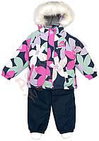 """Костюм куртка и полукомбинезон зимний для девочки Termo""""Цветы"""" """"Joiks"""", цветной и синий, 74(74-98), 74 см"""