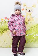 """Костюм куртка и полукомбинезон зимний для девочки Termo""""Эйфелева башня"""" """"Joiks"""", розовый и бордовый, 74(74-98), 74 см"""