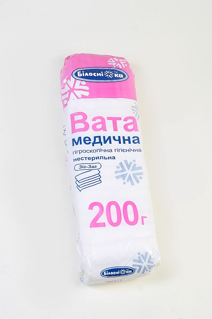 Вата медицинская 200 г нестерильная гигроскопическая гигиеническая (зиг-заг) / Белоснежка