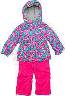 """Костюм куртка и полукомбинезон зимний для девочки Thermo""""Ёлочки"""" """"Babyline"""", розовый и малиновый, 104(80-104), 104 см"""