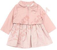 """Платье с коротким рукавом для девочки и болеро """"Цветы из фатина"""" """"Bebessi"""", пудра, 80(80-98), 80 см"""