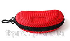 Футляр для  очков с карабином на молнии красный