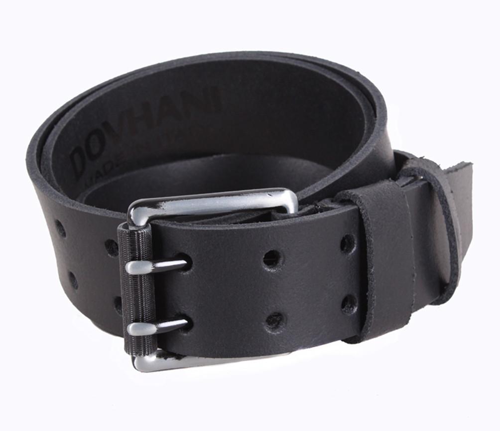Мужской кожаный ремень Dovhani SP999-22 115-125 см Черный