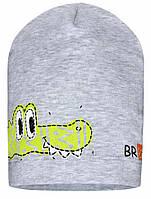 """Шапка для мальчика детская """"Крокодильчик"""" """"Barbaras"""", Серый, 40-42, 40 см, 42 см"""