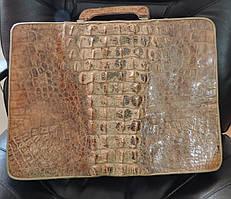 Сумка папка из кожи крокодила. Деловая женская сумка руководителя.