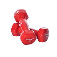 Гантель с виниловым покрытием 1 кг красная