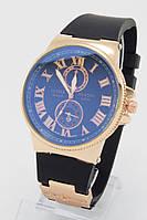 Мужские кварцевые часы Ulysse Nardin (Улис Нардин) с чёрным ремешком ( код: IBW070YB )