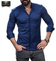 Однотонная мужская рубашка,ворот стойка.