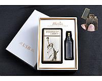 USB зажигалка в подарочной упаковке + огниво и тюбик с бензином (спираль накаливания) №4788-3