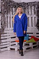 Женское прямое пальто оверсайз на пуговицах с большим капюшоном (в расцветках) 16268JP, фото 1