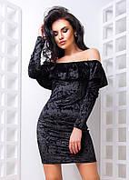 Велюровое платье с открытыми плечами и длинным рукавом 16280PL