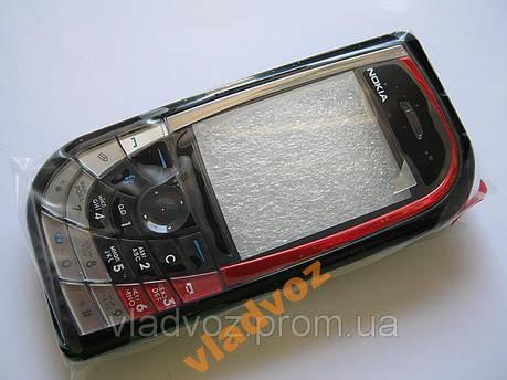 Корпус Nokia 7610 черный с красным с клавиатурой, фото 2