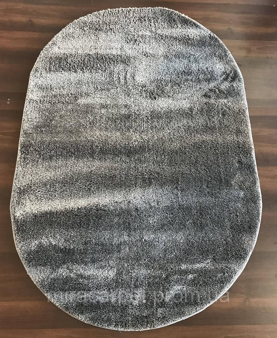 Ворсовые серые ковер овальной формы