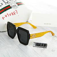 Женские брендовые очки Gucci Гуччи Polaroid черные с желтыми дужками 9feb856eefd