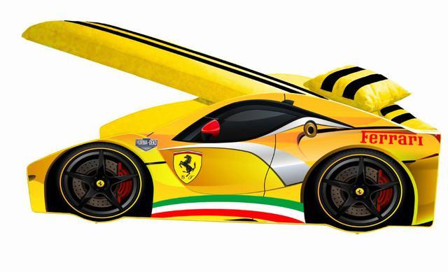 Кровать детская машина серии Elit Е-2 Ferrari yellow (фото 2)
