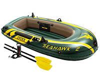 Надувная лодка SeaHawk 2 Intex 68347. + Весла + Насос. На 2 человек