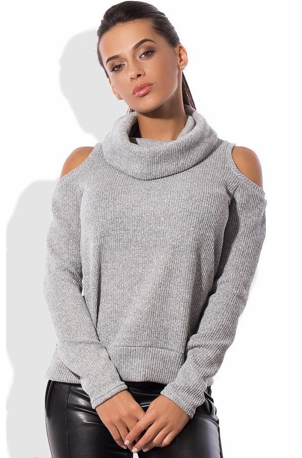 Серый свитер с вырезами на плечах СК-522