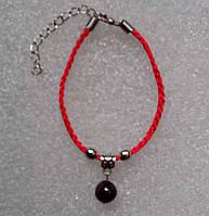 Красная нить оберег натуральный камень Гранат 10 мм