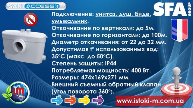 фекальный насос для подвала_фекальный насос для цокольного этажа_кнс_насос для отвода стоков с подвала_канализационный насос для отвода стоков_кнс_sfa_saniaccess 3 характеристики