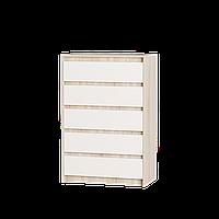 Комод для спальни Микс-1 ролики Эверест сонома + белый (70х38х102 см)