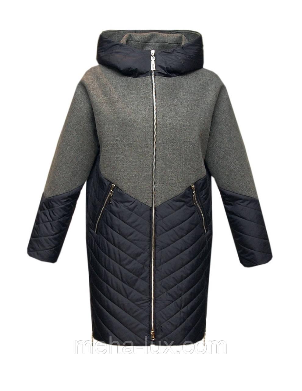 Пальто женское из плащевки с текстилем кокон с капюшоном больших размеров серо-синее