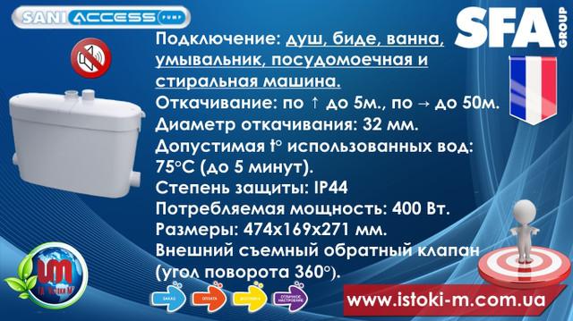 фекальный насос для автоматического отвода стоков_кнс_saniaccess pump характеристики_канализационный насос sfa