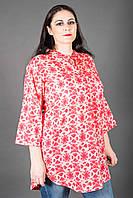 Жіноча літня червоно-бежева батистова туніка з квітковим принтом №121-4 50