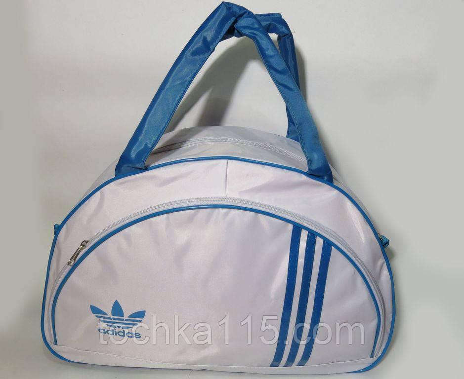 Спортивная женска сумка Adidas, белый/голубой  реплика