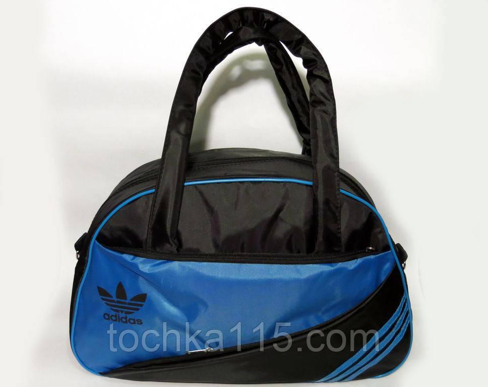 Спортивная женска сумка Adidas, фитнес сумка черный/синий  реплика